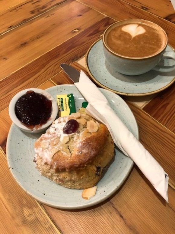 Bottle Kiln West Hallam scone and coffee