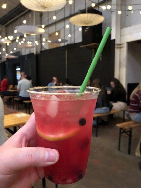 cocktail bars in Derby - pink cocktail at Bustler market