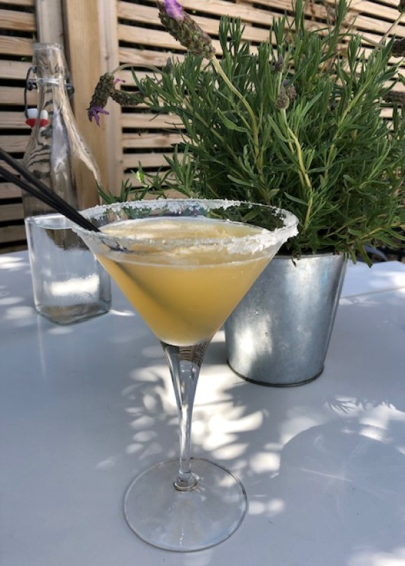 cocktail bars in Derby Seven at Pride Park - a salt frosted margarita glass filled with apple and elderflower martini