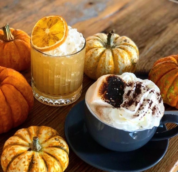 winter warmers Derbyshire - seasonal cocktail and coffee surrounded with mini pumpkins
