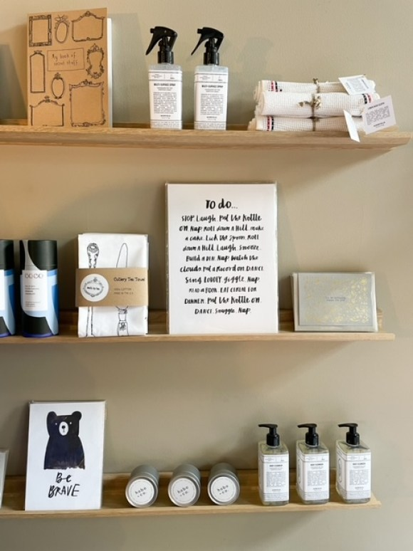 lifestyle store at The Shed Space and Store. Shelves with neatly displayed gifts