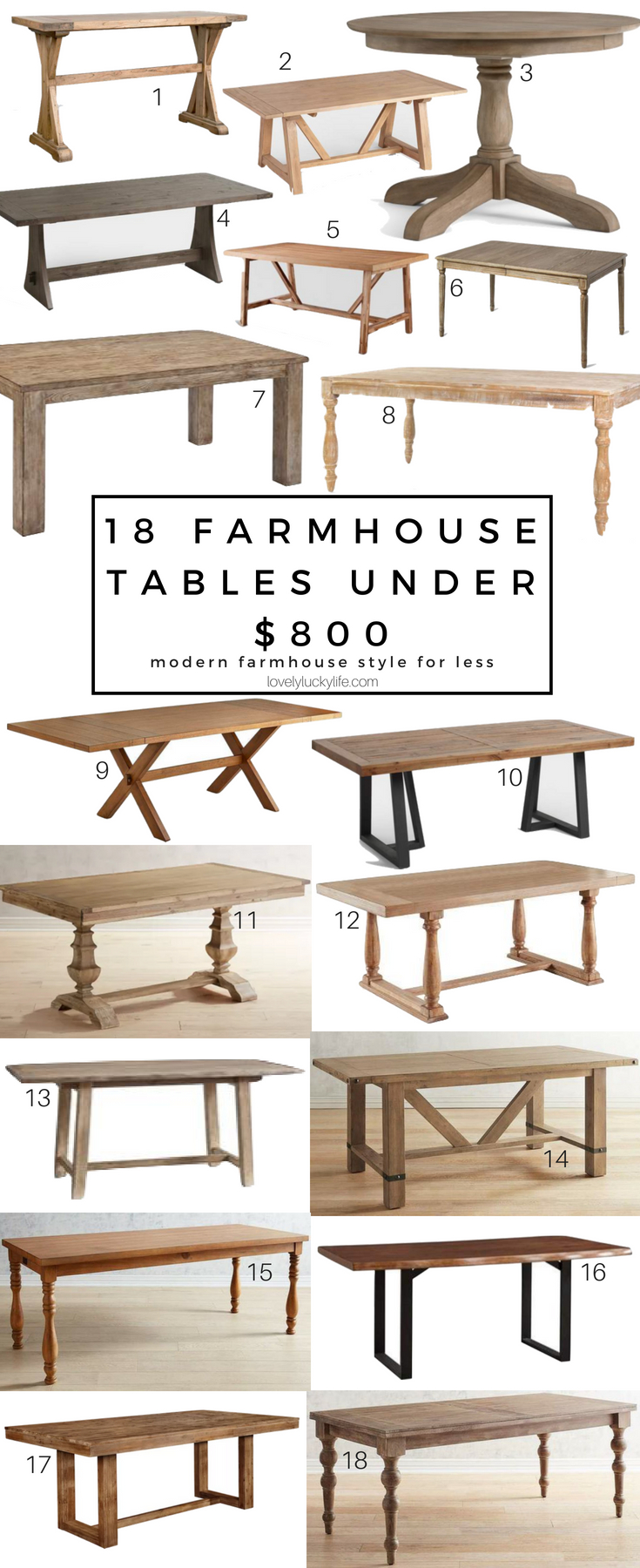 18 Of The Best Modern Farmhouse Tables Under 800 Lovely Lucky Life