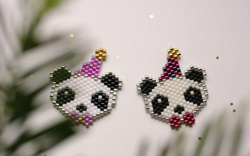 Panda festif en perles Miyuki