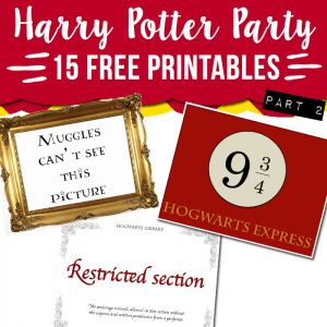 harry potter party printable free
