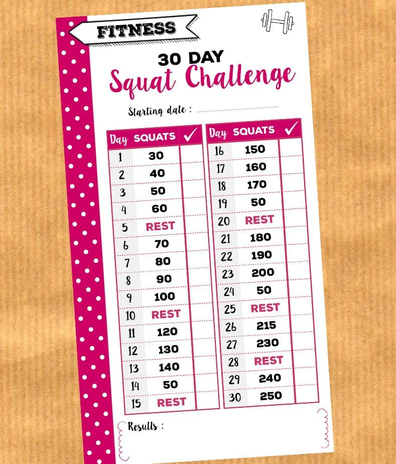 30 day squat challenge free printable insert for personal planners {Advent Calendar - day 24}