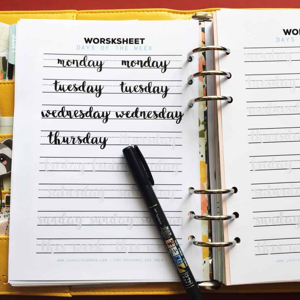 Free Days Of The Week Lettering Practice Worksheet For