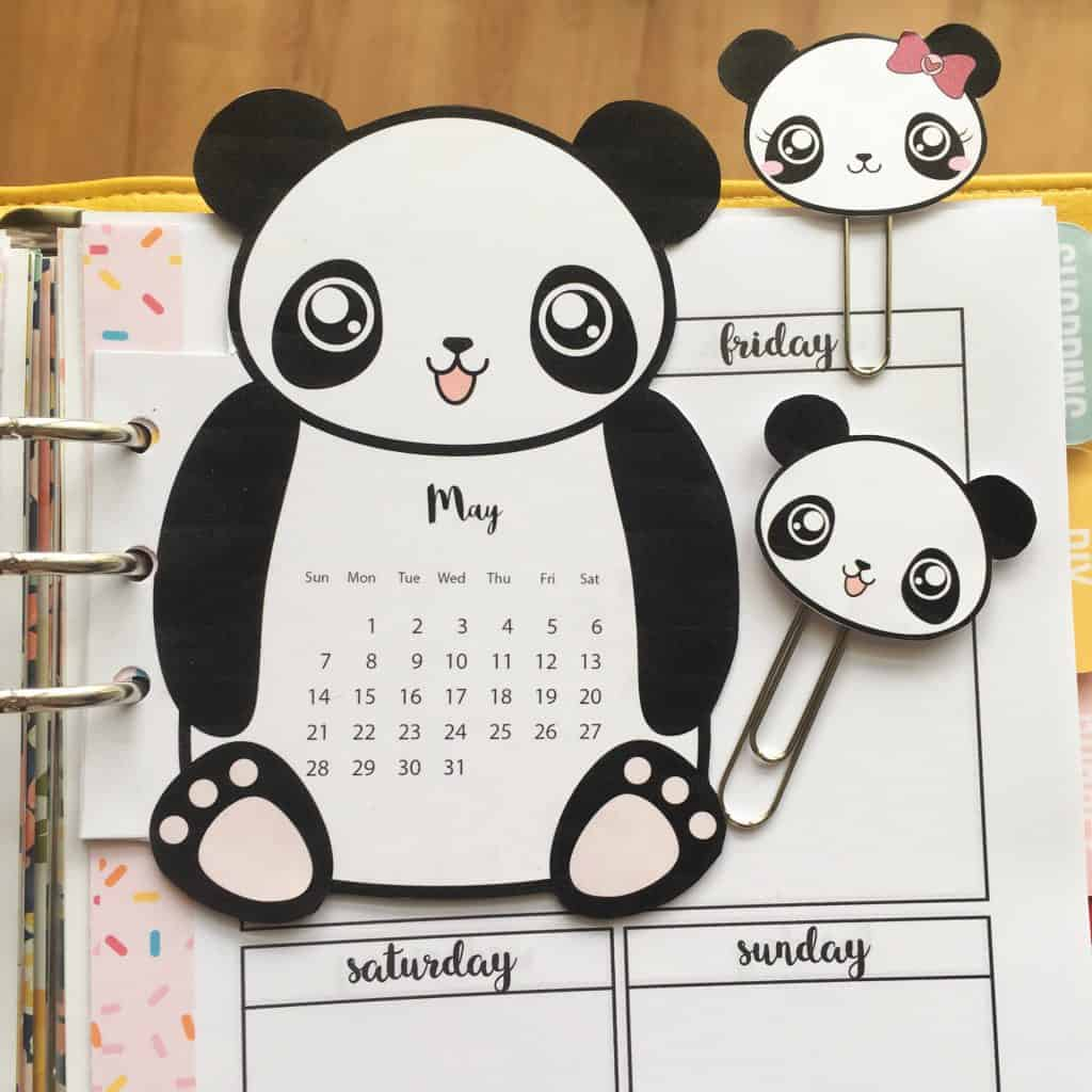 Panda Calendar Divider Paperclips For Your Planner