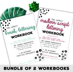 Practice Hand Lettering with these 2 workbooks include 80 lettering practice worksheets. Print or Procreate App (Ipad Pro). For planners, bullet journals...