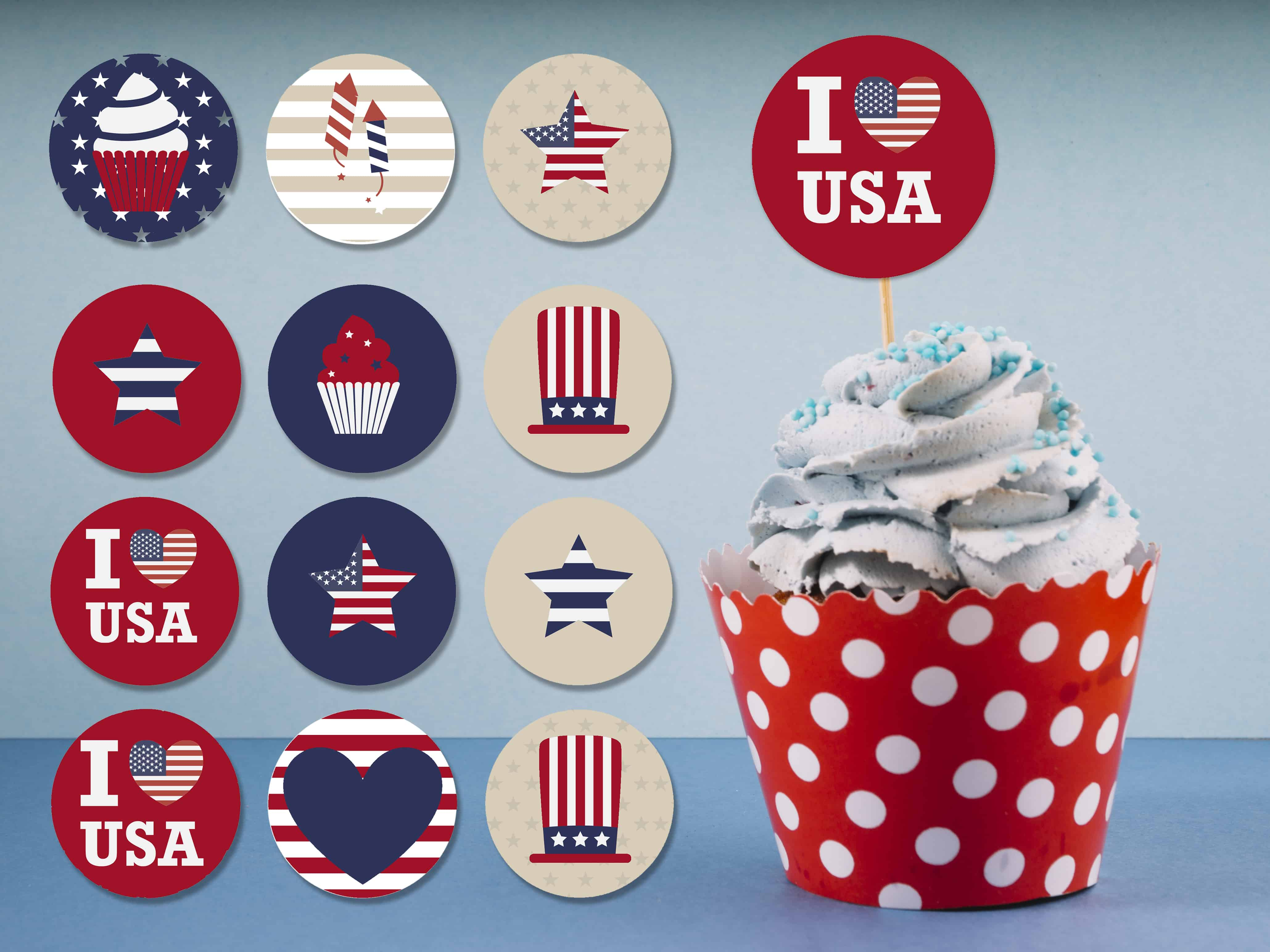 Free Printable Cupcake Toppers 4th July Independance Day