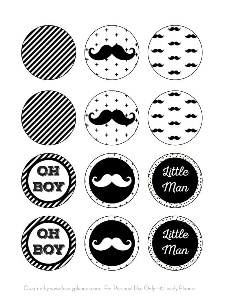 Free Printable Cupcake Toppers Mustache Party, Little Man