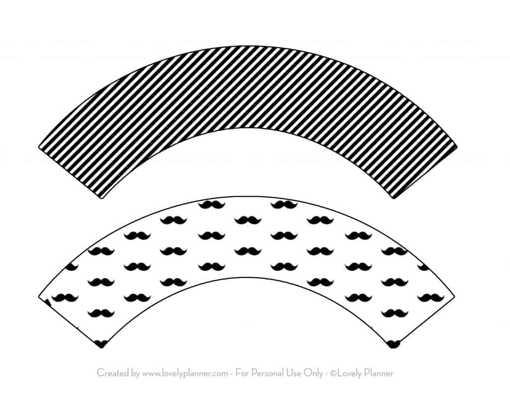 Free Printable Mustache Party Cupcake Wrappers