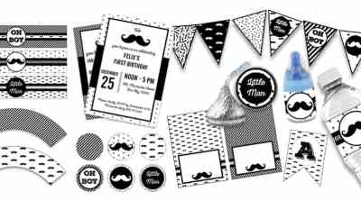 FREE Pack of 10 matching FREE Printables to decorate your Mustache Birthday, Mustache Baby Shower or Party: Alphabet banners, Editable invitations, Flag banners, Cupcake wrappers and toppers, Hershey kisses stickers, Baby bottle pop labels, Bottle labels, Food tents, Place cards, Candy bag toppers... #freeprintable #party #mustacheparty ##babyshower #lovelyplanner