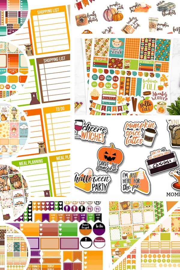 12 FREE Printable Fall Planner Stickers to decorate your planner this autumn: planner stickers weekly kit, monthly kit, checklist stickers, fall bucket list #freeprintable #planner #plannerstickers #freeprintablestickers #fall #autumn #bujo #lovelyplanner