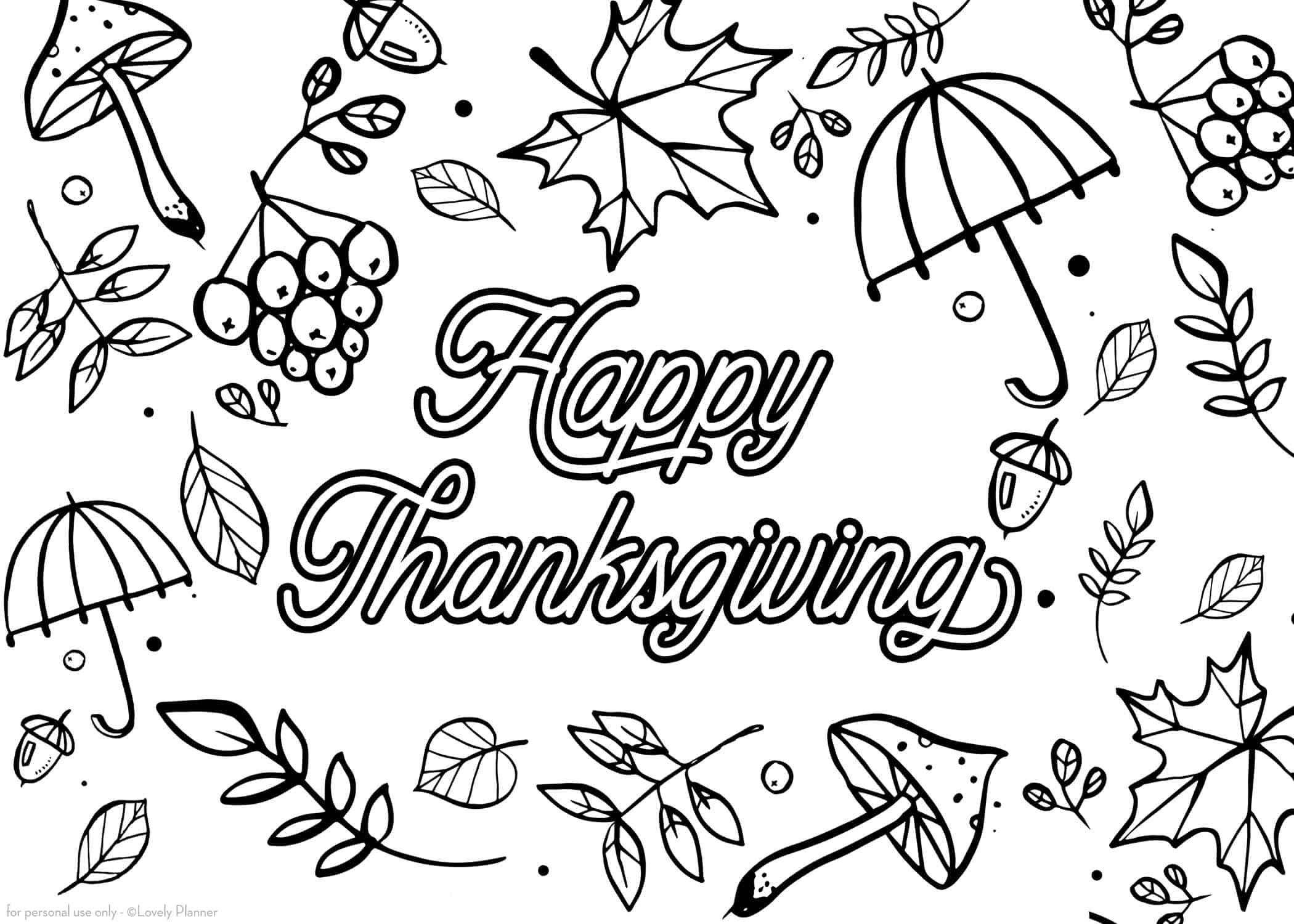 Free Printable Thanksgiving Coloring Page Coloring