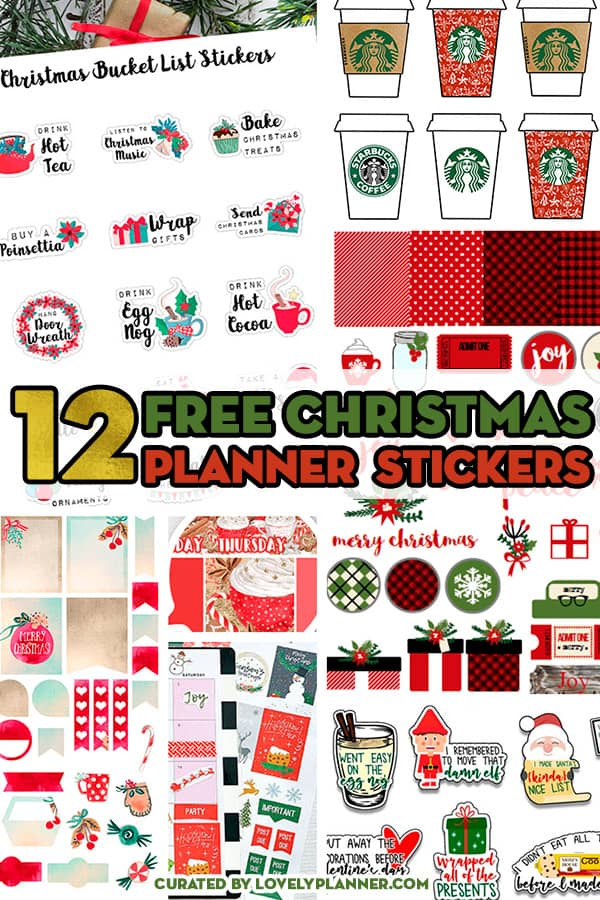 12 FREE Christmas planner stickers sets to decorate your planner for the Holidays: weekly kit, monthly kit, countdown, bucket list, etc! #freeprintable #planner #plannerstickers #freeprintablestickers #christmas #holidays #bujo #lovelyplanner