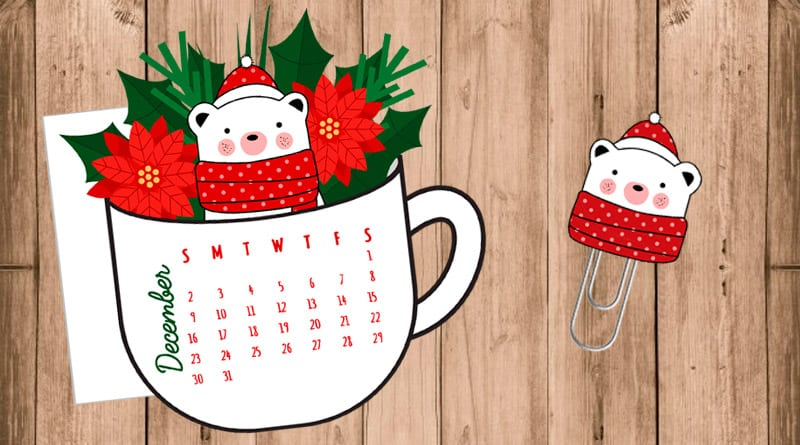 Free Printable Christmas floral Coffee cup calendar divider (dated OR Blank die cut) with cute bear paperclip to decorate your planner. #freeprintable #planner #bujo #kawaii #winter #christmas #lovelyplanner