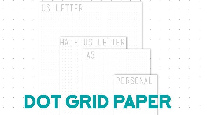Free Printable dot grid paper for bullet journal and planners in 4 sizes: US letter, half US letter, A5 and Personal. DIY your own bujo with these free printable dot grid journal pages. #bujo #bulletjournal #freeprintable #lovelyplanner