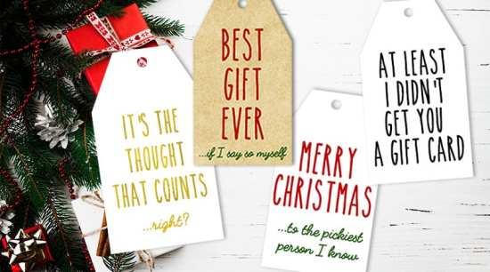 16 FREE Printable Funny and Honest Christmas Gift Tags in 4 different color schemes! #christmas #gift #christmasgift #gifttags #honestgifttags #funny #freeprintable #lovelyplanner