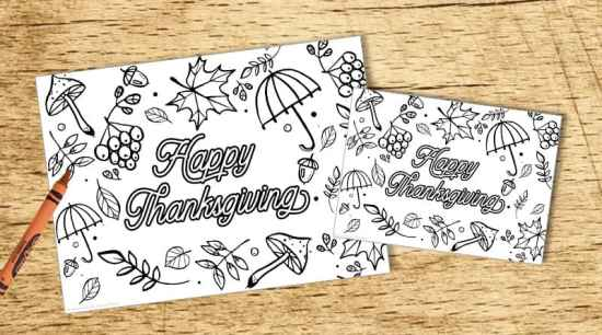Free Printable Thanskgiving coloring page in 3 sizes that you can use as a placemat, US letter page or postcard. #coloringpage #coloringplacemat #thanksgiving #activitysheet #freeprintable #lovelyplanner