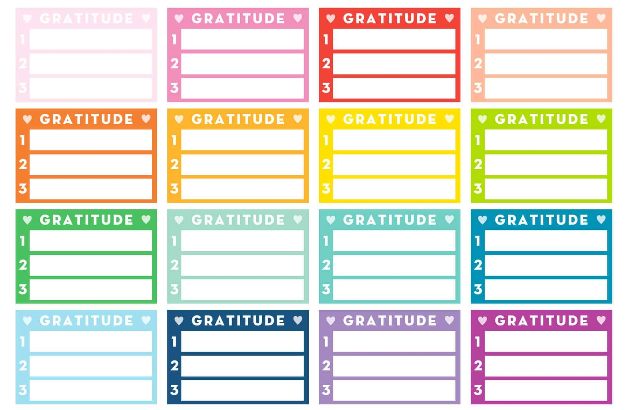 Free Printable Daily Gratitude Planner Stickers