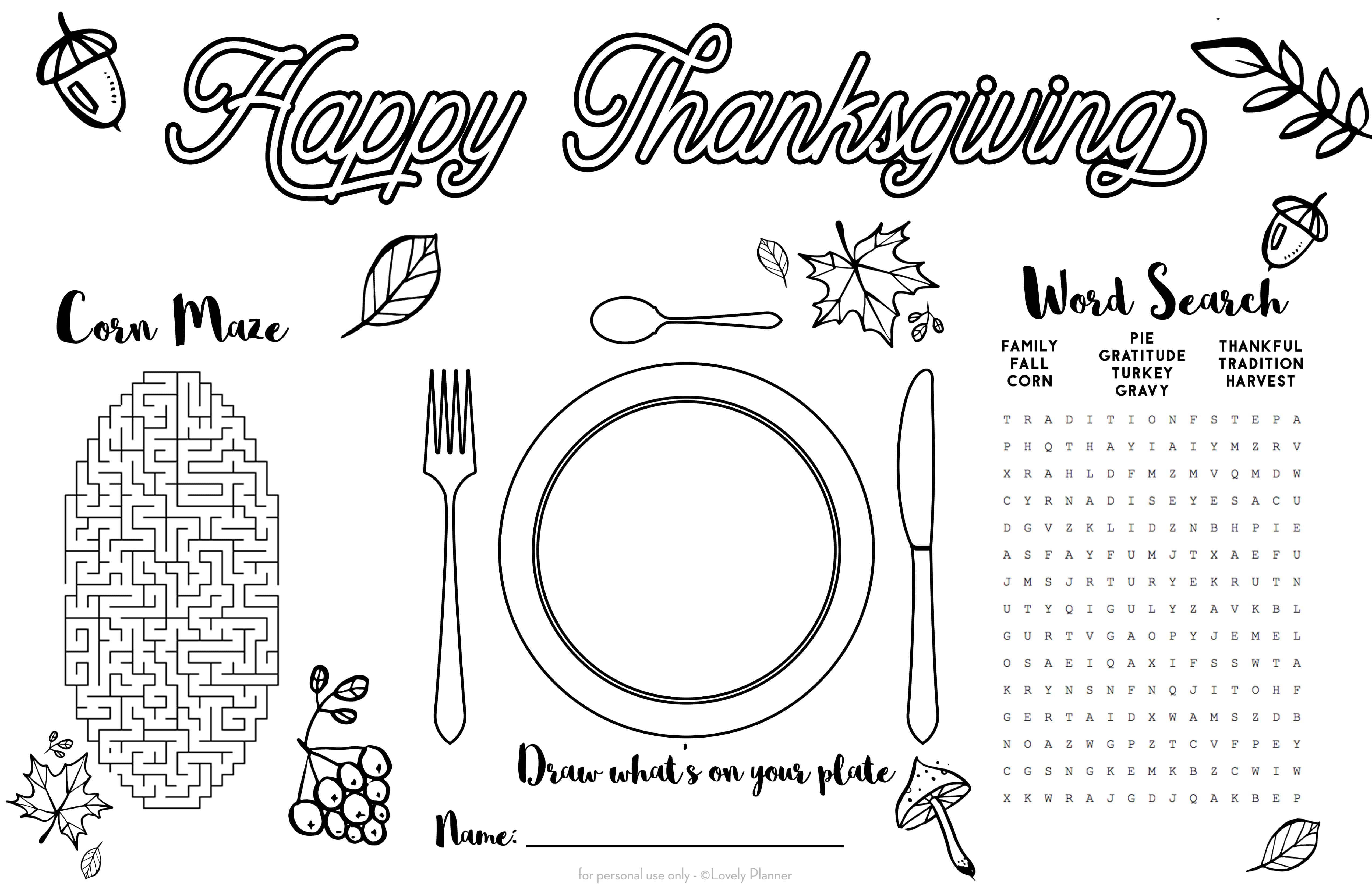 Free Printable Thanksgiving Kid Placemat Activity Sheet