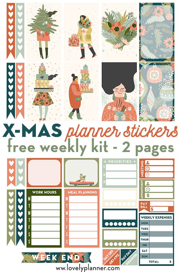 FREE Printable Christmas Planner Stickers Weekly Kit for Happy Planner #freeprintable #planner #happyplanner #weeklykit #christmas #lovelyplanner