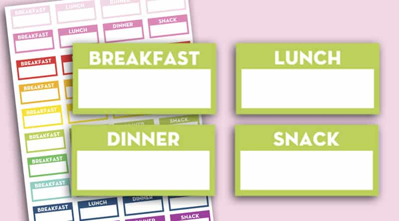 Free Printable Meal Planner Stickers to keep track of your meals or plan them ahead of time. #mealplanning #planner #freeprintable #Printable #planner #plannerstickers #lovelyplanner