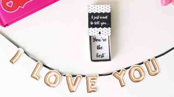 """Free Printable DIY """"I love you"""" mini banner in surprise matchbox. Perfect Valentine's Day gift DIY #freeprintable #love #gift #DIY #matchbox"""