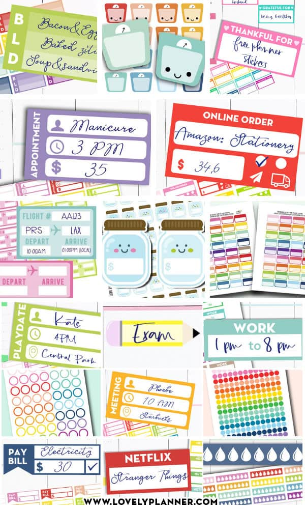 More than 45 FREE Printable Functional Planner Stickers to decorate your planner or bullet journal and get more organized! #freeprintable #Planner #happyplanner #functional #plannerstickers #stickers #bulletjournal #lovelyplanner