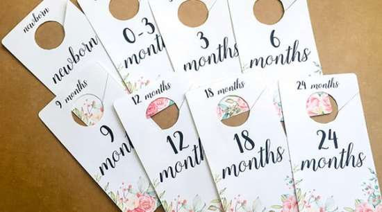 Free Printable Baby Closet Dividers with Shabby Chic Flowers design to help you decorate your little girl's nursery and organize baby's clothes. Also an easy and cheap DIY Baby Shower Gift Idea. #baby #nursery #homedecor #nurserydecor #freeprintable #Printable #lovelyplanner #babyshower #giftidea #DIY