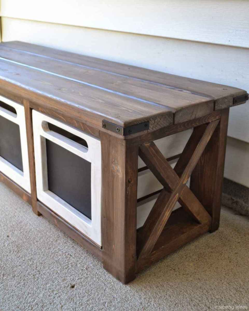 Rustic DIY Storage Bench Ideas 48