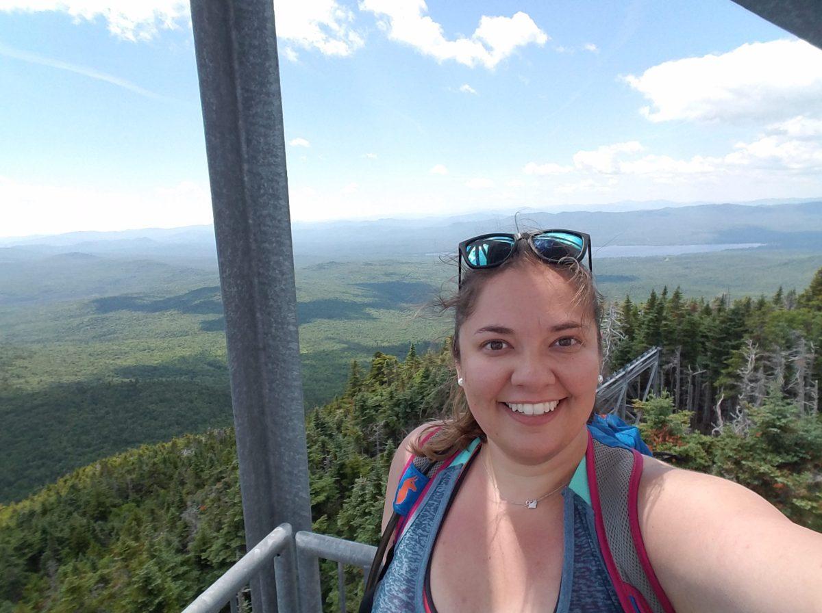 Jessicalynn on fire tower, Mount Blue, Maine