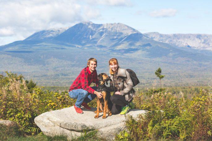 Andrew, Jett, and Amelia in front of Mount Katahdin