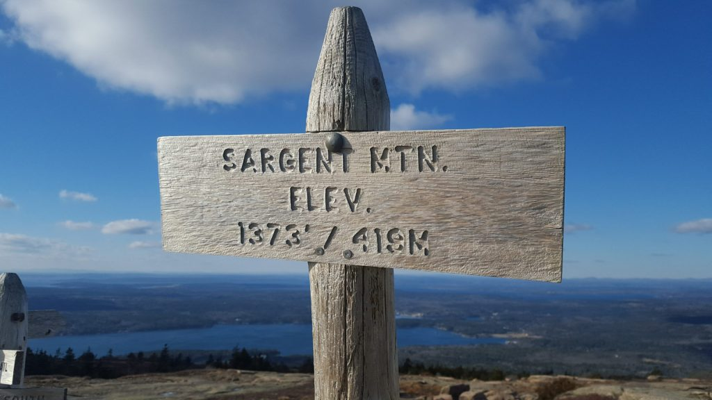 hiking Sargent Mountain in winter Acadia National Park