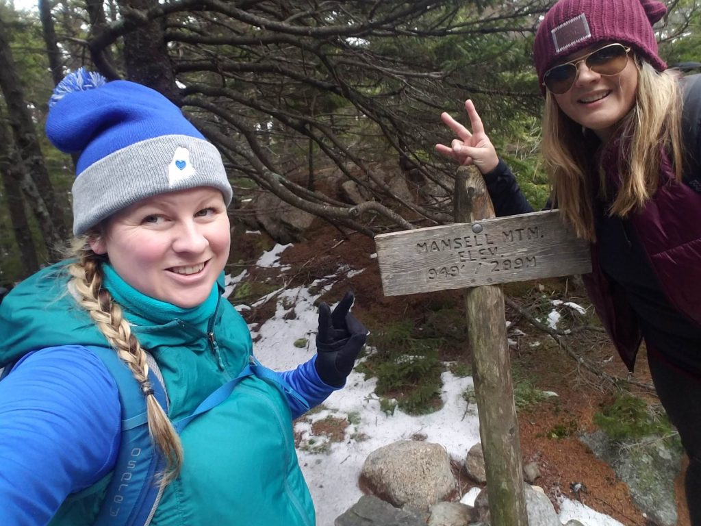 hiking Mansell Mountain in winter Acadia National Park