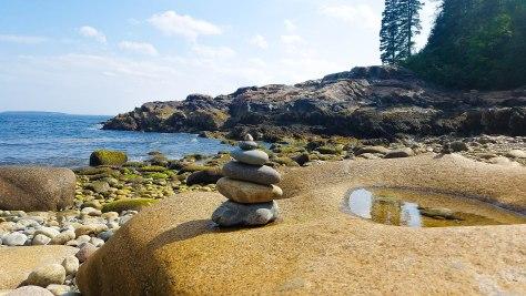 Cairn, beach cairn, little hunters beach park loop road, acadia national park