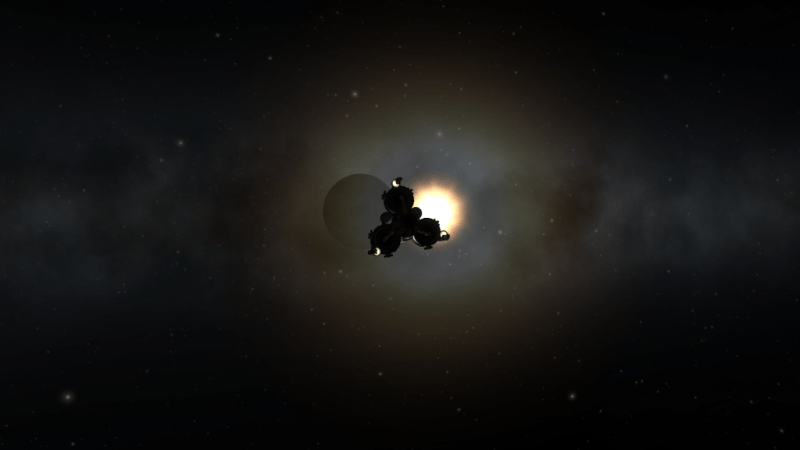 Jeb approaches the dark side of the Mun. He seriously considers writing an album.