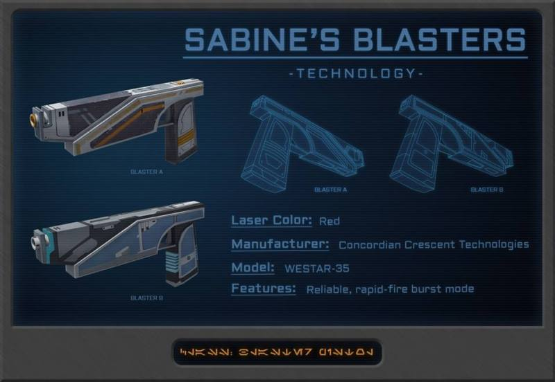 Sabine's guns. Via starwarsrebels.wikia.com.