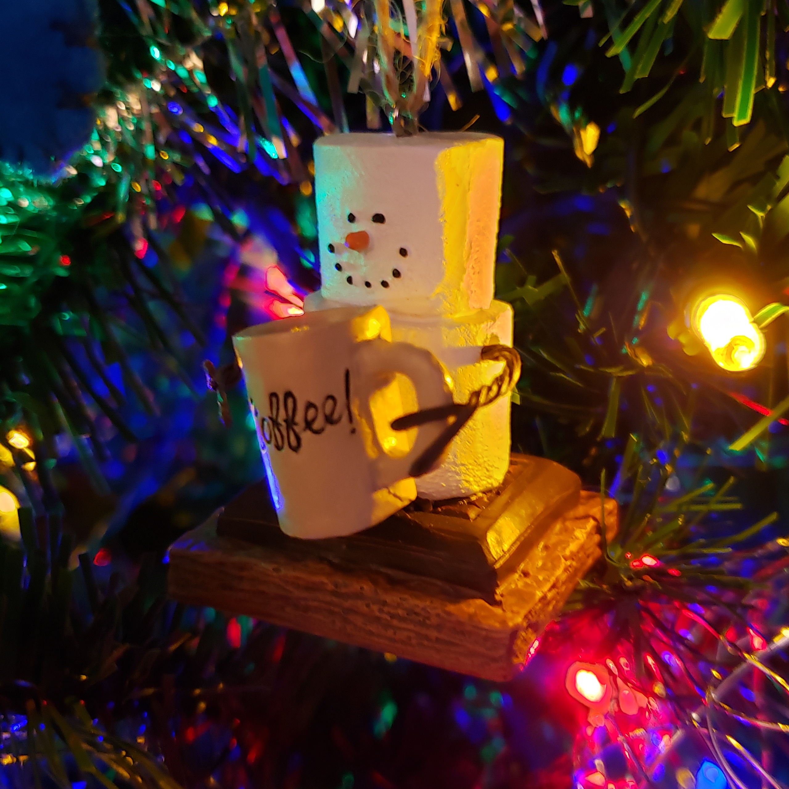 Marshmallow snowman Christmas ornament
