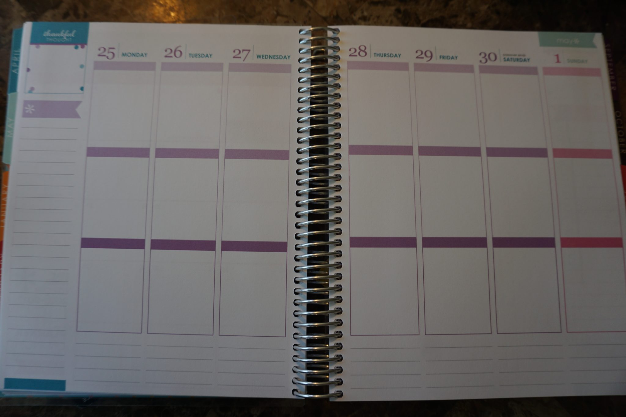 The Weekly View of the Erin Condren Life Planner. I use this to combine my meal planning, daily home tasks, blogging tasks and errands.