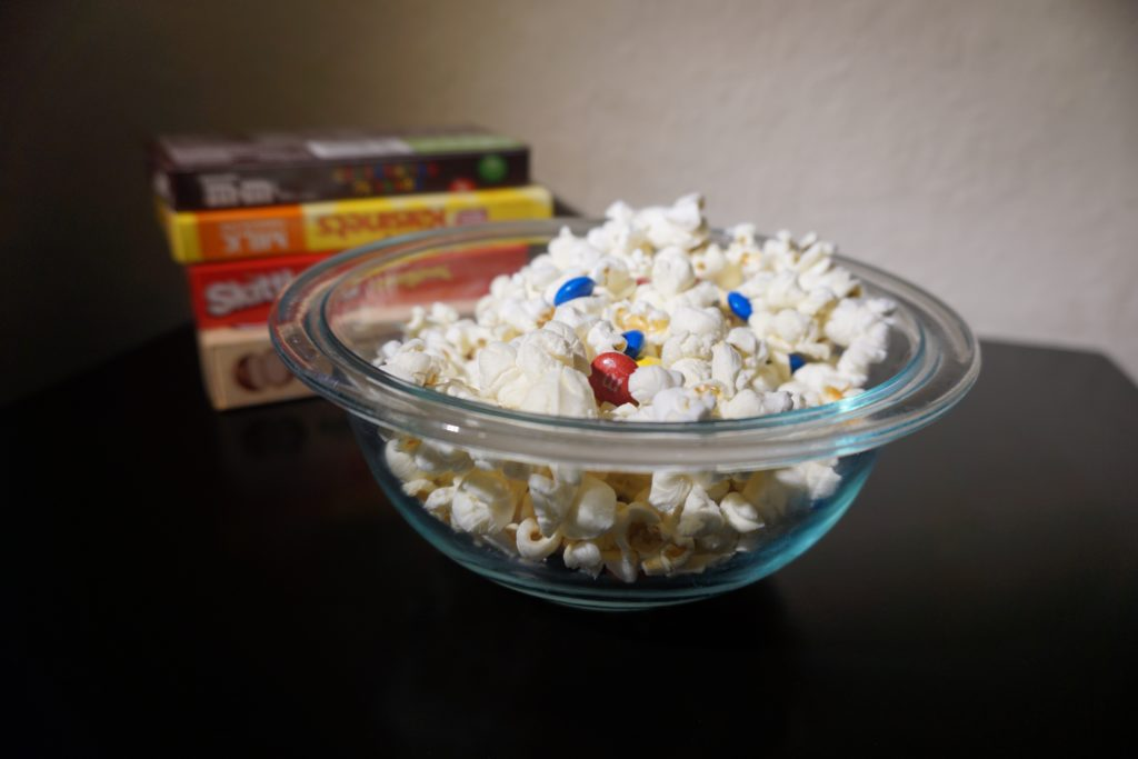 Family movie night-choose frugal and yummy snacks.