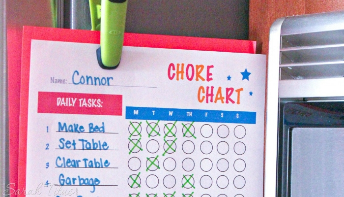 Teaching kids the value of money with chore charts.