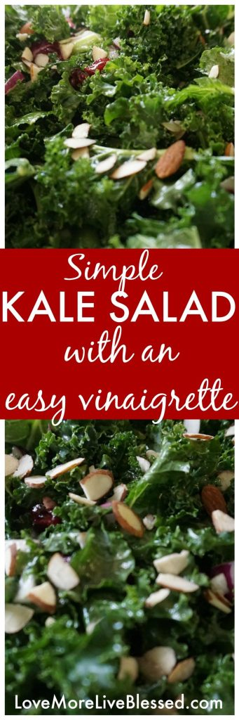 I love how simple this kale salad is. Perfect for making a large batch and keeping in the fridge for healthy meals during the week. I paired with grilled chicken!