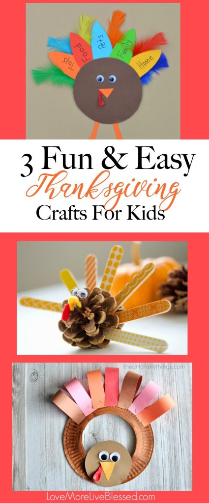I found 3 fun and easy Thanksgiving crafts for kids! I love how simple the crafts are. Perfect for your Thanksgiving crafting with kids! Pin now!