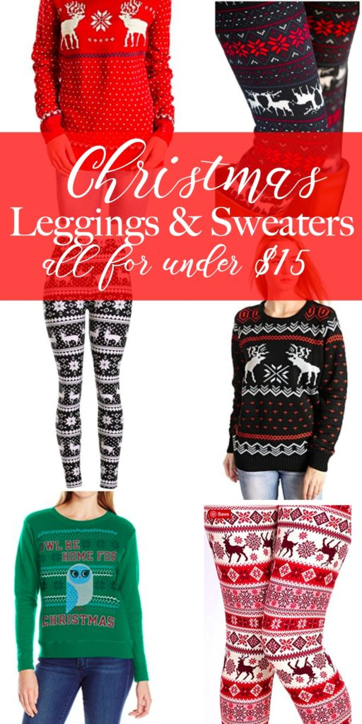Christmas clothing that is perfect for lounging around or for that Ugly Sweater party you get invited too. All of the items are under $15 on Amazon and have great reviews! Christmas leggings, Christmas sweaters, ugly sweaters