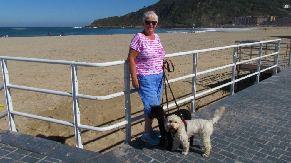 Walking along the seafront in San Sebastian