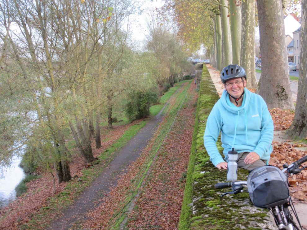 Margaret cycling to Tours