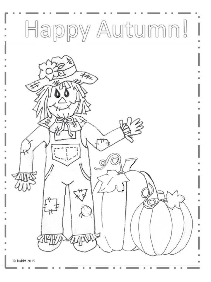 Happy Autumn Scarecrow Coloring Page ~ Love My Big Happy