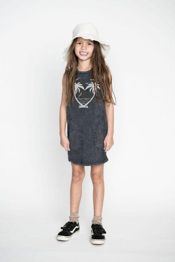 Missie Munster Palm Heart Dress (washed black)