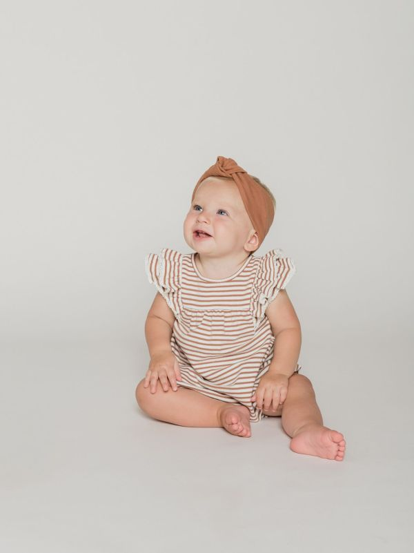Quincy Mae Gathered Bloomer (rust stripe)
